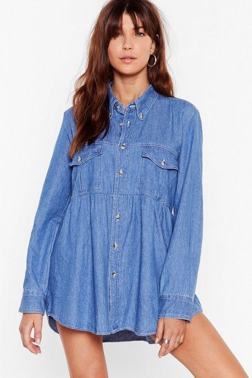 Blue Nasty Gal Vintage So Good It Shirts Denim Dress