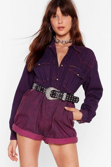 Raspberry Nasty Gal Vintage All for One Denim Romper
