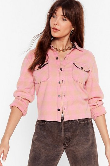 Pink Nasty Gal Vintage Shirt Hot Check Shirt