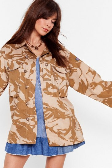 Sand Nasty Gal In Line Oversized Camo Jacket