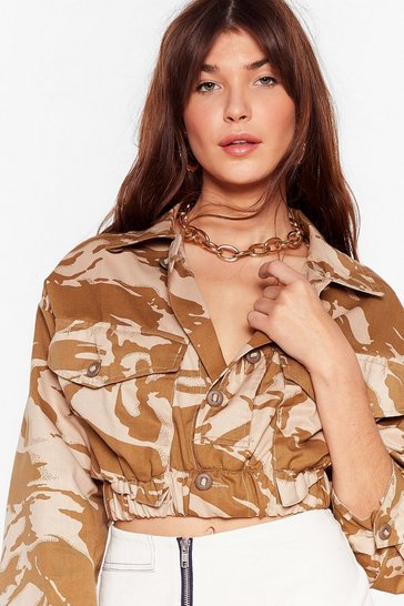 Sand Nasty Gal Vintage In Line Cropped Camo Jacket