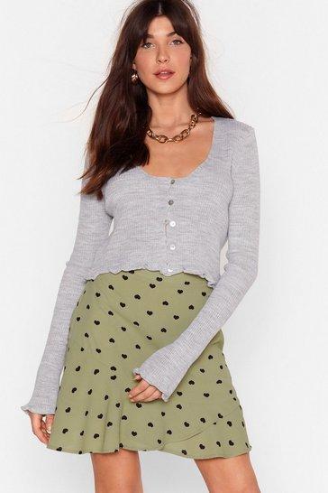 Sage High-Waisted Heart Ruffle Mini Skirt