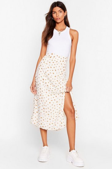 White In a Spot of Trouble High-Waisted Midi Skirt