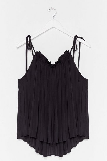 Black Pleat Explain Strappy Cami Top