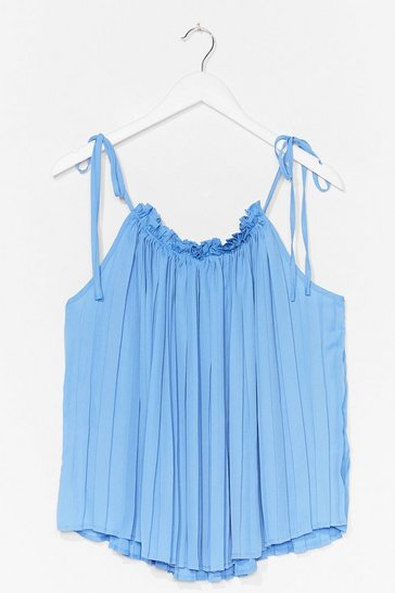 Blue Pleat Explain Strappy Cami Top