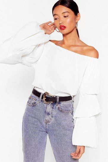 White The Pleat of Love Off-the-Shoulder Blouse