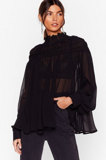 Black If It Ain't Got That Swing Chiffon Shirred Blouse