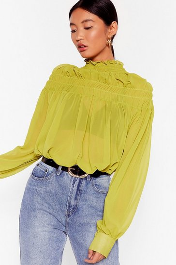 Lime If It Ain't Got That Swing Chiffon Shirred Blouse