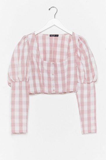 Pink Gingham a Reason Puff Sleeve Cropped Blouse