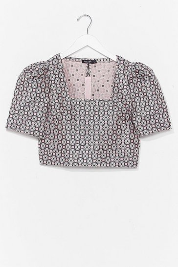 Pink What You Don't Grow Floral Crop Top