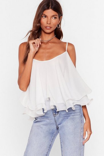 White Swing into Action Ruffle Cami Top
