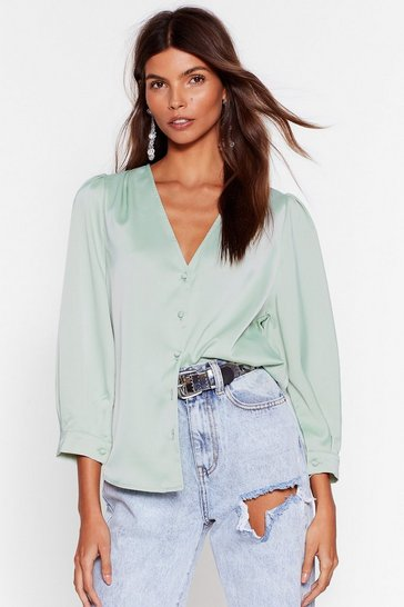 Pistachio  Satin Puff Sleeve Blouse