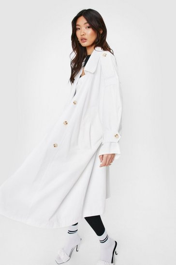 White Oversized Double Breasted Belted Trench Coat