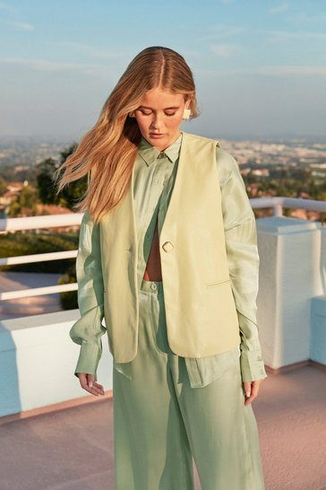 Pistachio Faux Leather Turning Back Relaxed Vest