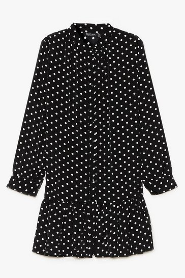 Black Polka Dot Summer Nights Plus Mini Dress