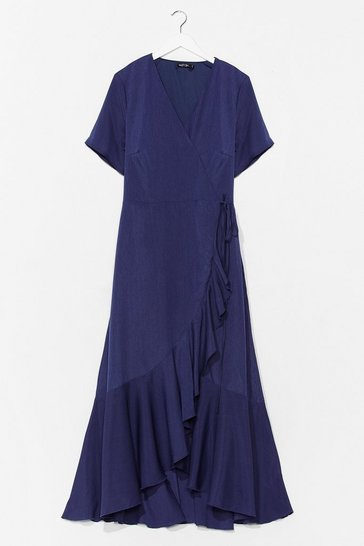 Navy Love Frill Find a Way Plus Maxi Dress