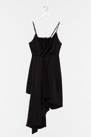 Black Plus Strappy Frill Asymmetric Hem Dress