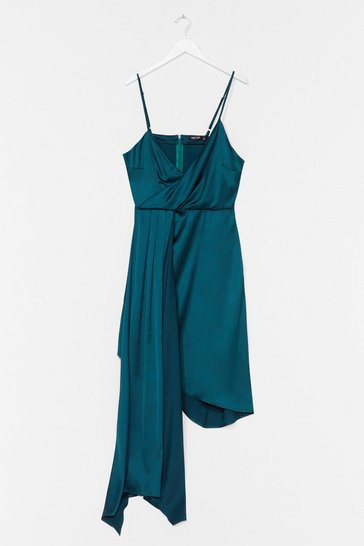 Teal Plus Strappy Frill Asymmetric Hem Dress