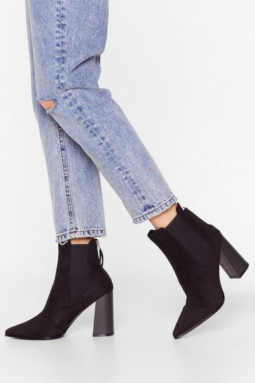 Black Faux Suede Chelsea Boots with Block Heel