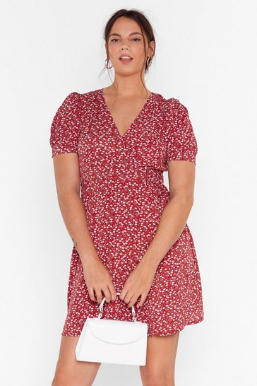 Red Plus Puff Sleeve Floral Wrap Mini Dress
