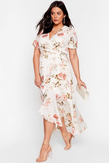 White Plus Size Floral V Neck Midi Wrap Dress
