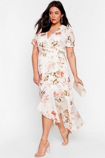 White That Guest Plus Floral Wrap Dress