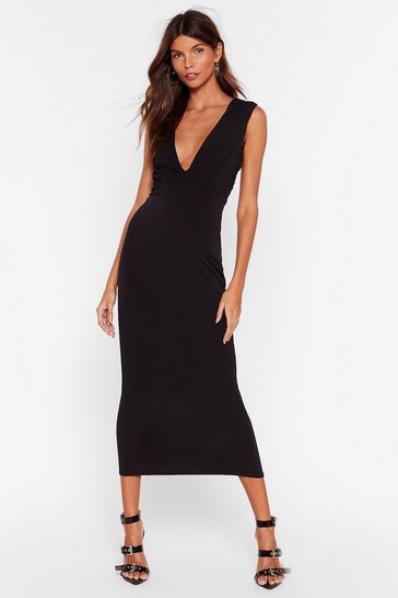 Black V Myself and I Slinky Midi Dress