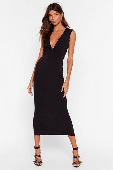 Black V Myself and I Slinky Midi Dress