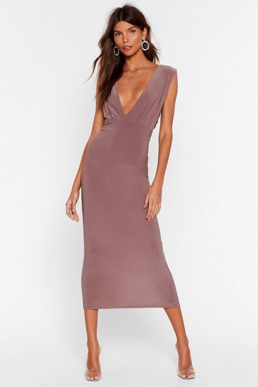 Mink V Myself and I Slinky Midi Dress