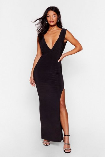 Black Deep Your Eyes on Me Plunging Maxi Dress