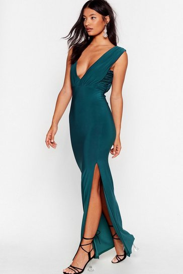 Teal Deep Your Eyes on Me Plunging Maxi Dress