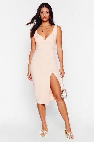 Nude Plunge Down Midi Dress