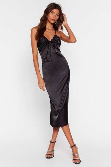 Black Hear You Sleek Satin Midi Dress