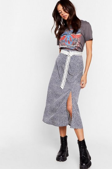 Blue Slit at Front Leopard Print Midi Skirt