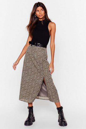 Khaki Smudge Be Love Slit Midi Skirt