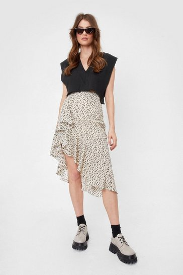 Beige Abstract Asymmetric Ruffle Midi Skirt