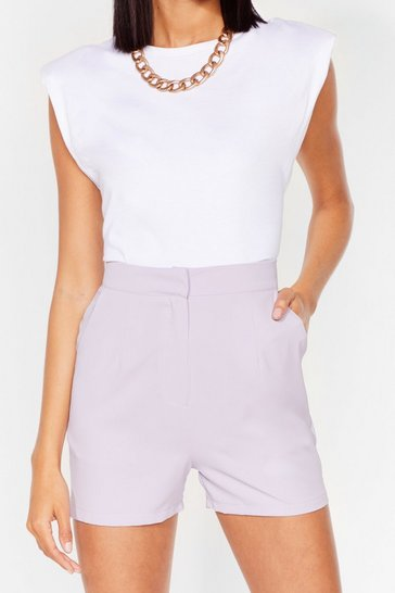 Lilac Office Hours High-Waisted Tailored Shorts
