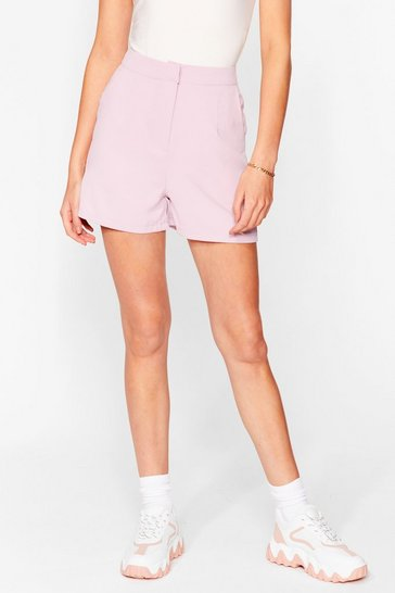 Pink Office Hours High-Waisted Tailored Shorts