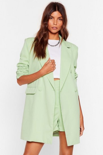 Mint Tailored Longline Double Breasted Blazer