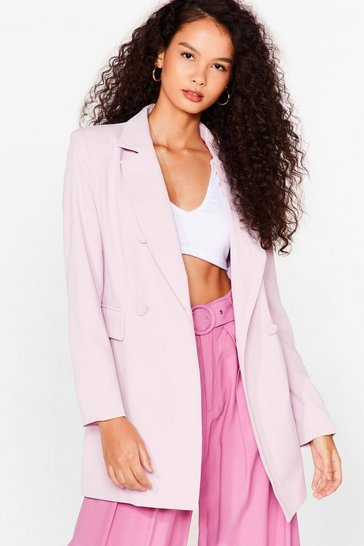 Pink Office Hours Longline Double Breasted Blazer
