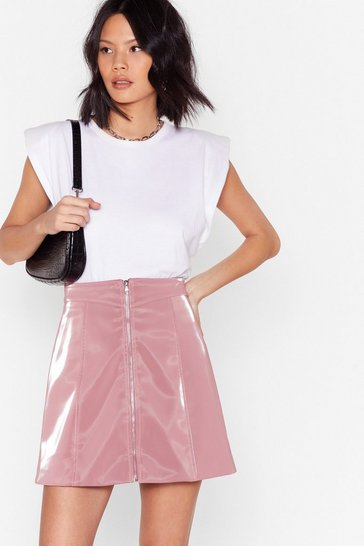Pink You're Doing Just Vinyl Zip Mini Skirt