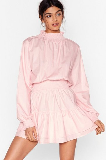 Baby pink Balloon Sleeve High Neck Skater Dress
