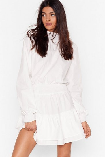 White Frill I Found You High Neck Mini Dress