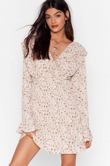 Cream Spring to Life Floral Mini Dress