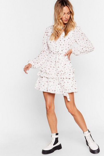 White Do You Field Me Floral Mini Dress