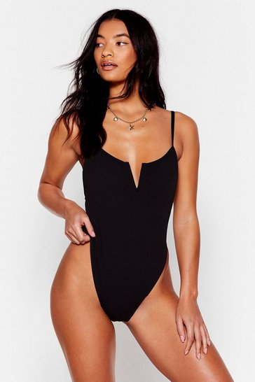 Black The Golden Rule Cut-Out High-Leg Swimsuit
