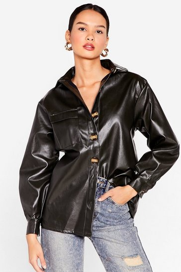 Forest Go With the Faux Leather Relaxed Shirt