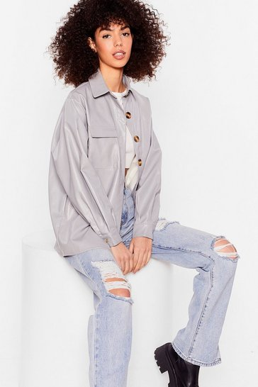 Lilac Faux Leather Button Down Shirt
