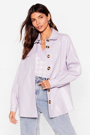 Lilac Go With the Faux Leather Relaxed Shirt