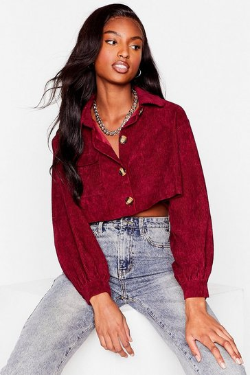 Berry Play the Record-uroy Cropped Shirt